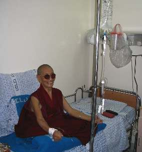 Kirti Tsenshab Rinpoche in hospital  at Haifa, Israel