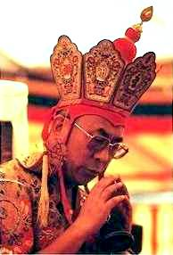His Holiness the Dalai Lama during a Kalachakra initiation